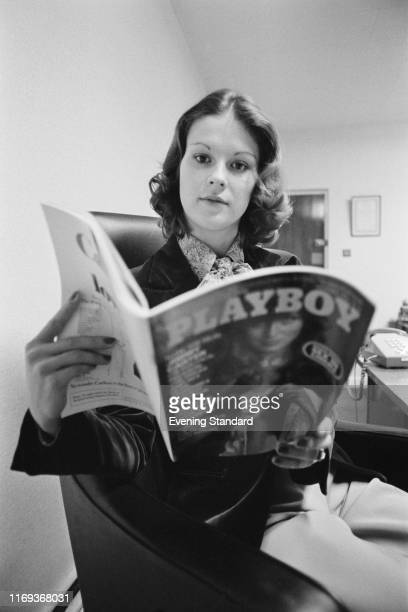 American businesswoman and activist Christie Hefner holding a copy of 'Playboy', UK, 2nd December 1976.