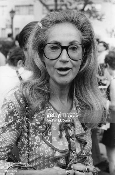 American businesswoman and art collector Ethel Scull as she attends the Women's Strike for Equality March New York New York August 26 1970 The march...