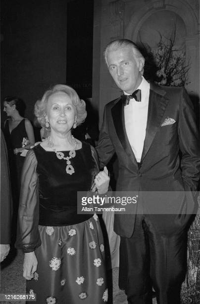American businesswoman, executive, and beautician Estee Lauder and French fashion designer Hubert de Givenchy attend the Glory of Russian Costume...