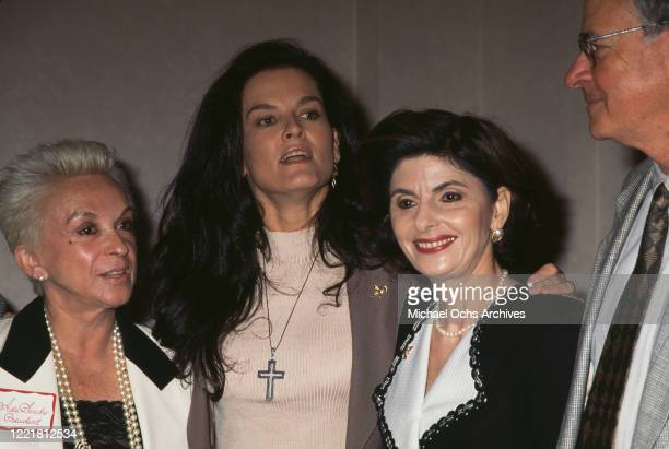 American campaigner against domestic abuse Denise Brown sister of Nicole Brown Simpson and American women's rights attorney Gloria Allred attend a...