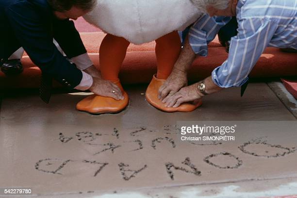 American cartoon character Donald Duck celebrates his 50th birthday adding his hand prints at the famous Grauman's Chinese Theatre plaza
