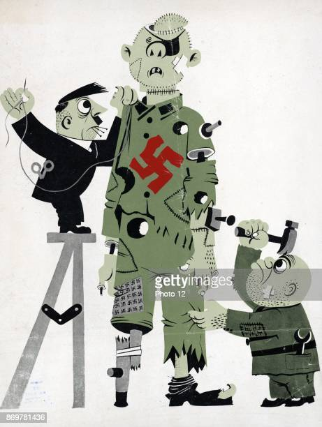 American cartoon of Hitler and Mussolini tacking together a broken puppet representing the axis the puppet has a large red swastika on its chest 1944