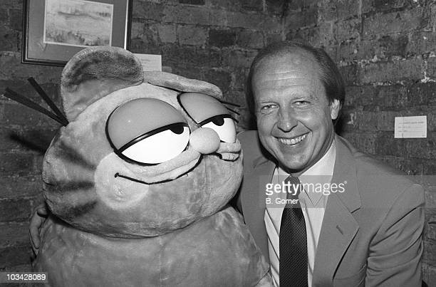 American cartoonist Jim Davis with his most famous creation Garfield on October 25 1983