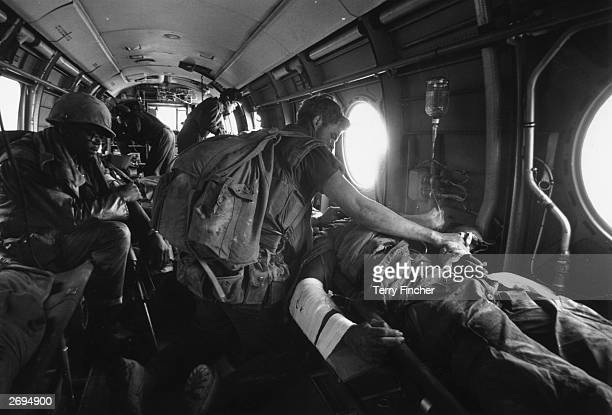 American casualties are evacuated by airambulance during the Vietnam war