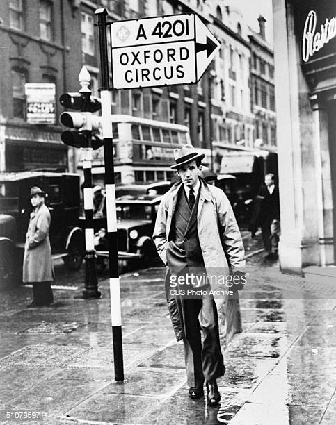 American CBS news correspondent Edward R Murrow at Oxford Circus outside the BBC's Broadcast House from which Murrow beamed his 'This is London'...
