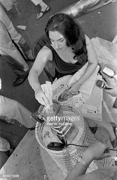 American cellist and performance artist Charlotte Moorman performs a section of 'Morning Glory' during the 3rd Annual Avant Garde Festival New York...