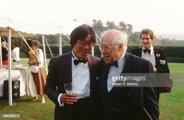 American cellist YoYo Ma speaks with Russian cellist Mstislav Rostropovich at an outdoor event August 25 1988