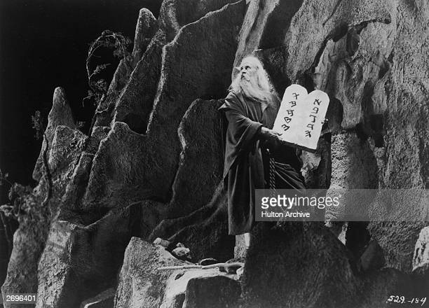 American character actor Theodore Roberts as Moses in the silent film version of 'The Ten Commandments' directed by Cecil B DeMille