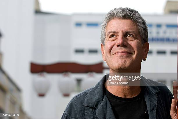 American Chef Anthony Bourdain in the Liberdade area of Sao Paulo Brazil Bourdain hosts the TV Show 'No Reservations' for the Travel Channel in the...