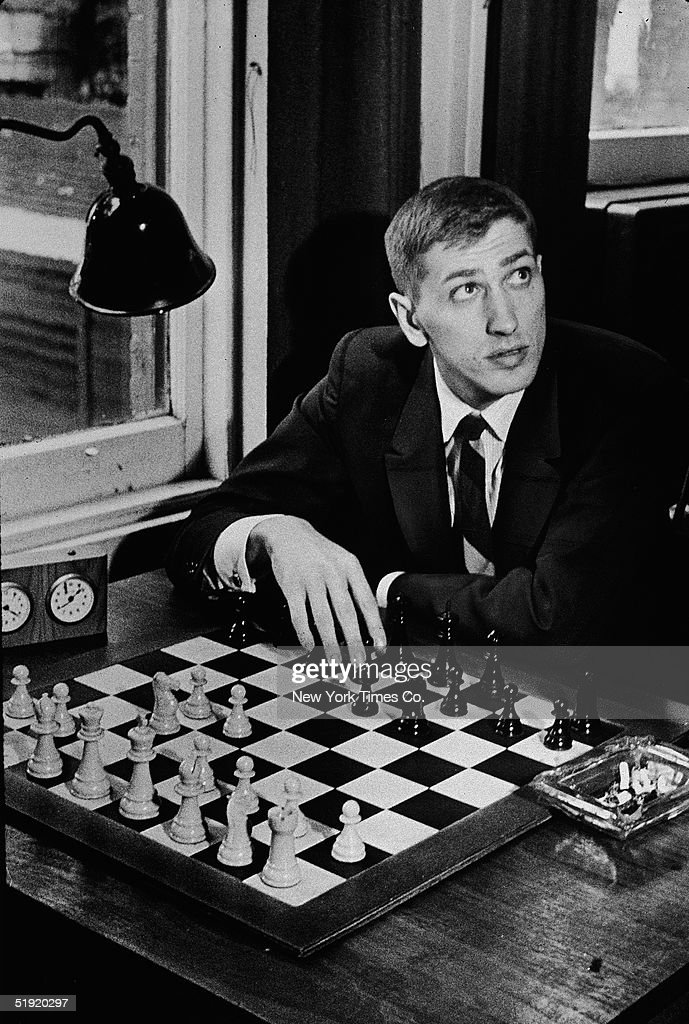 Bobby Fischer At Chess Club : News Photo