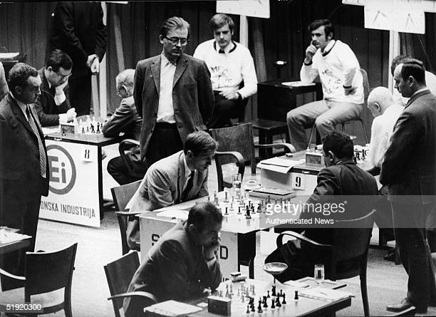 American chess champion and prodigy the controversial and tempermental Bobby Fischer competes against Soviet Tigran Petrosian in the chess 'Match of...