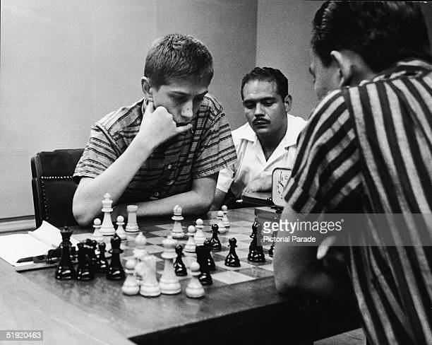 American chess champion and prodigy the controversial and tempermental Bobby Fischer plays Philippine champion Rodolfo Tan Cardoso at the Manhattan...