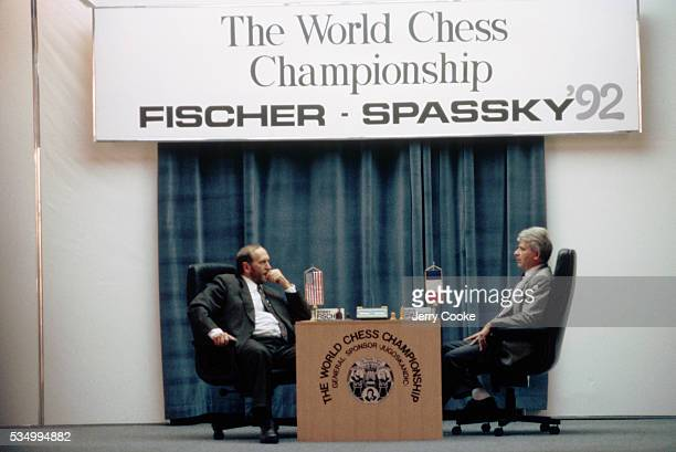 American chess player Bobby Fischer and Russian chess player Boris Spassky representing France compete in a chess championship in Sveti Stefan...