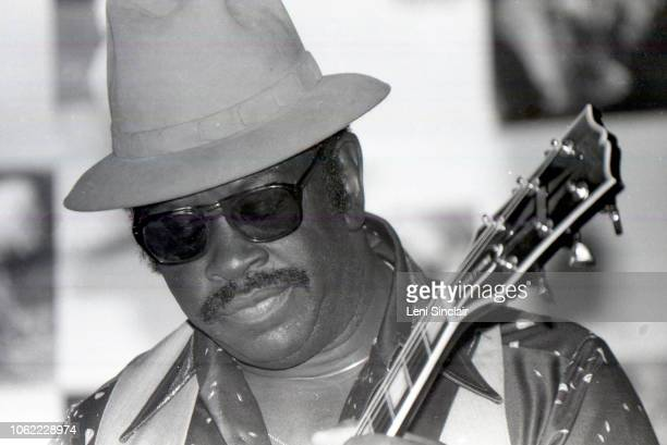 American Chicago blues guitarist known as Mighty Joe Young performs on guitar at the Soup Kitchen Saloon in Detroit Michigan in 1982