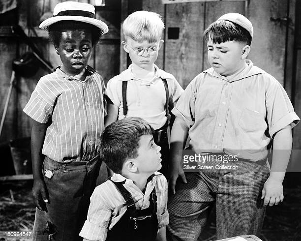 American child actors Billie 'Buckwheat' Thomas Robert Blake Billy 'Froggy' Laughlin and George 'Spanky' McFarland in a promotional still for a film...