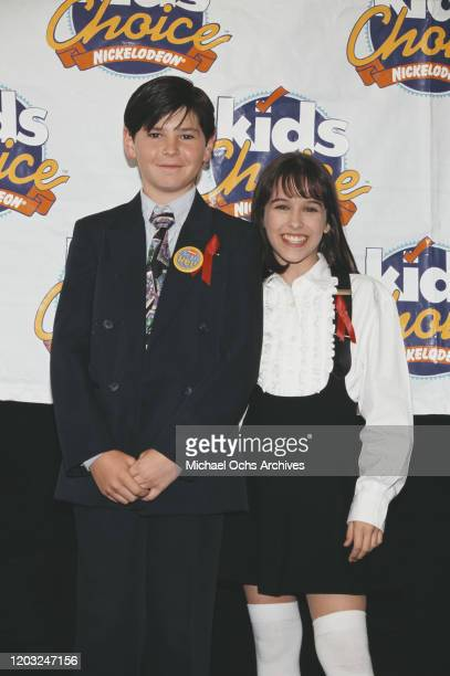 American child actors Michael Fishman and Lacey Chabert at the Nickelodeon Kids' Choice Awards USA May 1995
