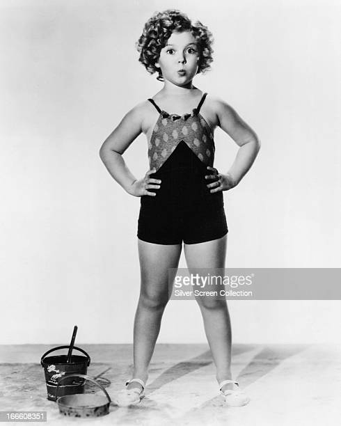 American child actress Shirley Temple wearing a bathing costume circa 1935
