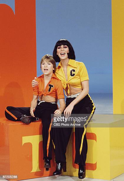 American child actrss Tatum O'Neal and singer/actress Cher appear together in coordinated outfits on the television variety show 'The Sonny Cher...