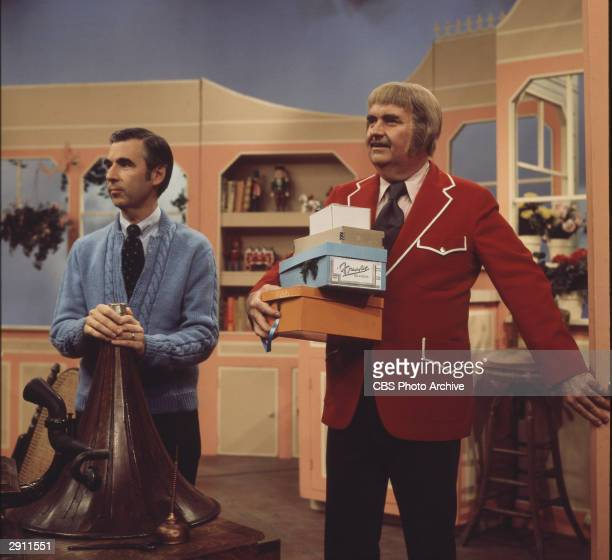 American children's entertainers Fred Rogers and Bob Keeshan together on an episode of Keeshan's 'Captain Kangaroo' show crica 1970s Rogers wears a...