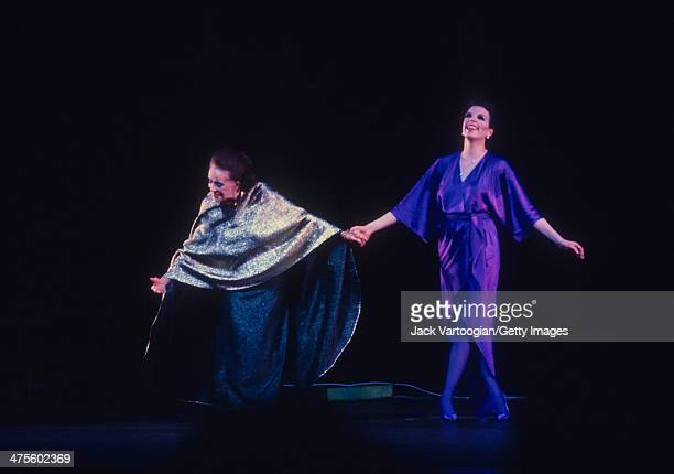 American choreographer and dancer Martha Graham and American actress and singer Liza Minnelli take bows after the world premiere of Graham's...