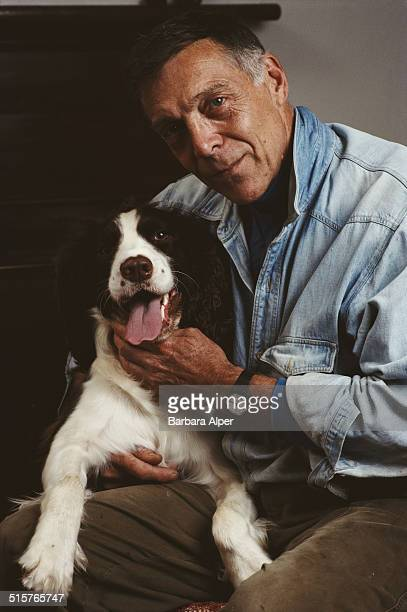 American choreographer Paul Taylor and his dog Bud at home in New York City 25th October 1989