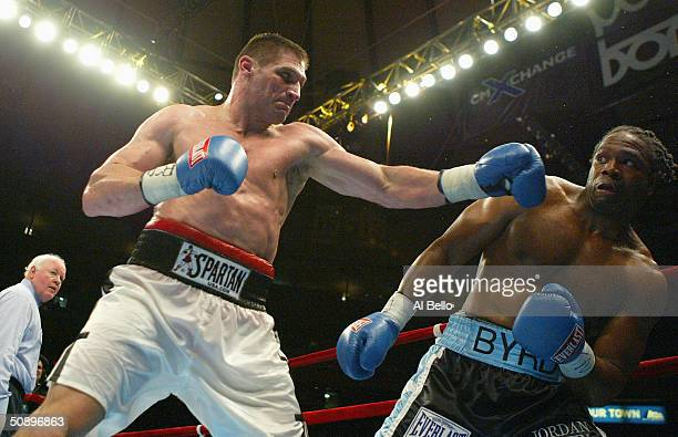 American Chris Byrd fights Poland's Andrew Golota during the IBF Heavyweight Championship at Madison Square Garden on April 17 2004 in New York City...