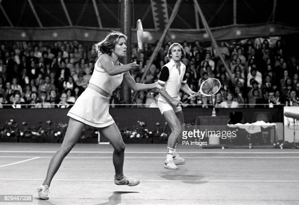 American Chris Evert and British husband John Lloyd in action against Swedish tennis ace Bjorn Borg and his fiancee Mariana Simionescu