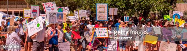 American citizens with protest signs at rally for Science on Earth Day 22 April 2017 in Tucson Arizona USA