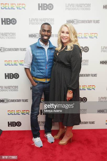 American civil rights activist and Black Lives Matter supporter DeRay Mckesson and producer Heather Parry attend the 'Believer' New York Premiere at...