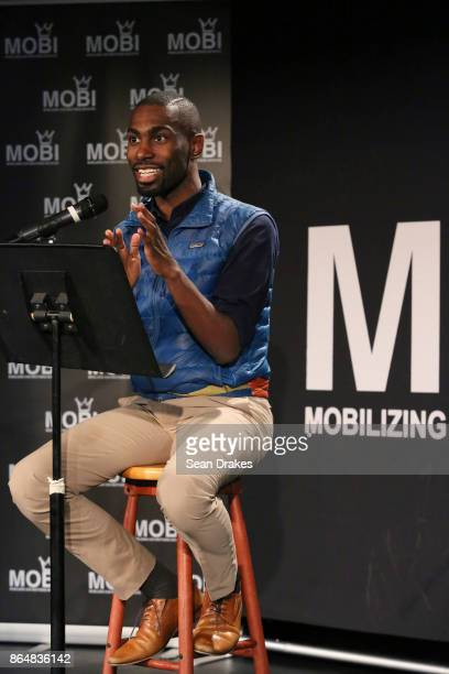 American civil rights activist and educator DeRay Mckesson speaks during MOBI Talks a life mentoring conference series at the National Black Theater...