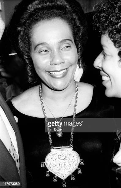 American Civil Rights activist Coretta Scott King smiles as she attends a party in honor of the theatrical production 'I Have a Dream' held at the US...
