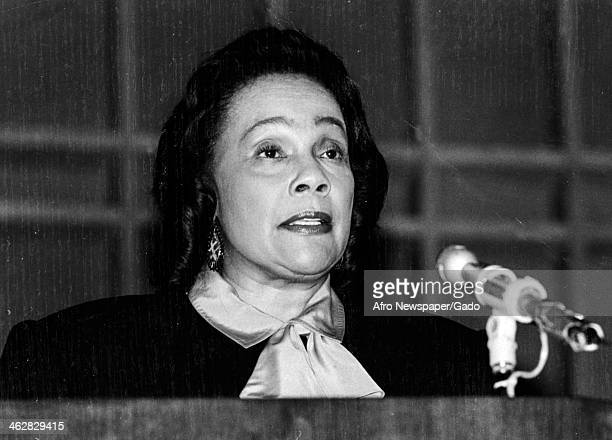 American Civil Rights activist Coretta Scott King speaks at an unspecified event 1970s or 1980s