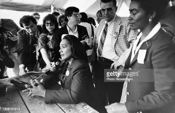 American Civil Rights activist Coretta Scott King speaks during a press conference at a nuclear disarmament rally, New York, New York, 1982.