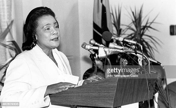 American Civil Rights activist Coretta Scott King stands at a lectern and gives speech and an unspecified event 1980s