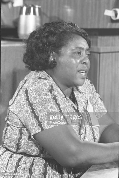 American Civil Rights activist Fannie Lou Hamer from the Mississippi Freedom Democratic Party delegatation attends the Democratic National Convention...