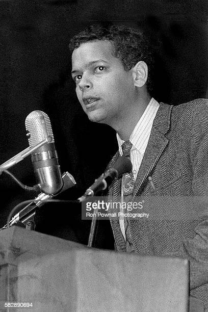 American civil rights activist Julian Bond addressing Lake Forest College, in Lake Forest, Illinois, April 1969.