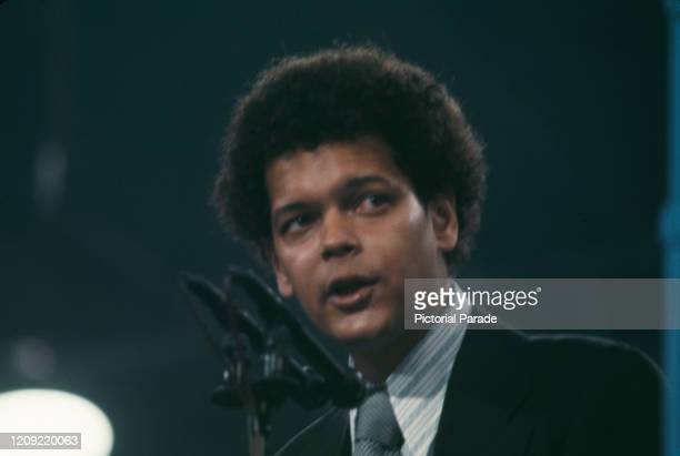 American civil rights activist Julian Bond addressing the 1972 Democratic National Convention, held at the Miami Beach Convention Center in Miami...