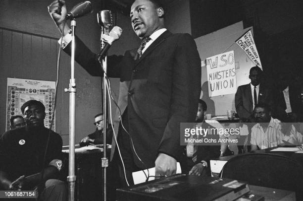 American civil rights activist Martin Luther King Jr addresses a meeting in Chicago Illinois 27th May 1966