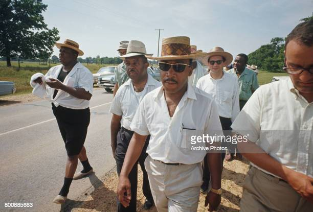 American civil rights activist Martin Luther King Jr heading towards Jackson Mississippi on the March Against Fear 9th June 1966 The marchers set out...