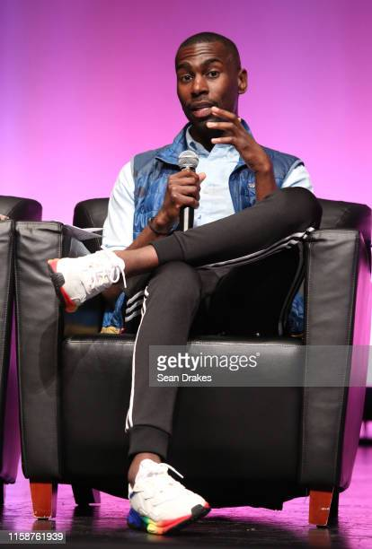 American civil rights advocate and educator DeRay McKesson speaks at the panel discussion After Stonewall: 50 Years of Black & Brown Resistance...