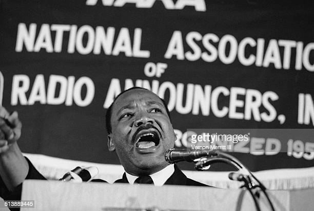 American Civil Rights and religious leader Dr Martin Luther King Jr speaks at the NARA convention in the Regency Hyatt Hotel, Atlanta, Georgia,...