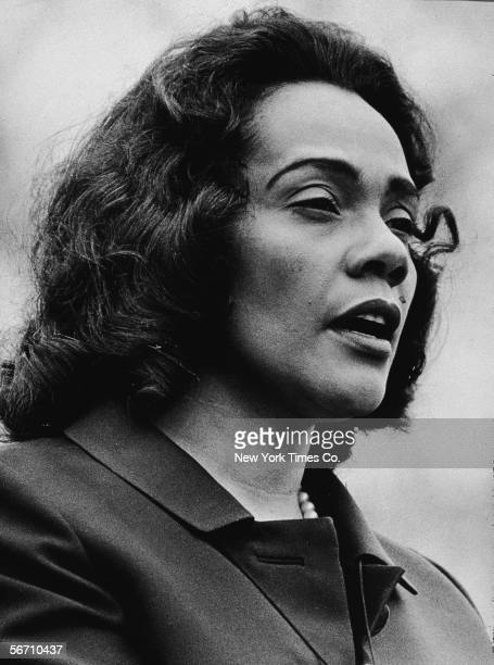 American civil rights campaigner and widow of Dr Martin Luther King Jr Coretta Scott King speaks at PeaceInVietnam Rally Central Park New York April...