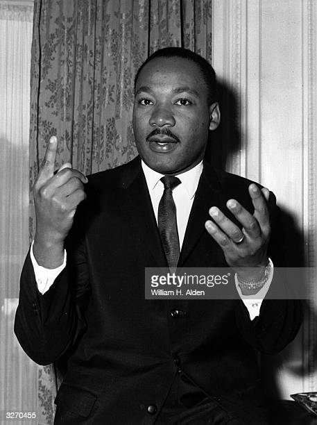 American civil rights campaigner Martin Luther King Jr at a press reception at the Ritz Hotel London England
