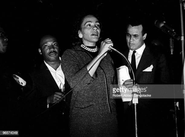 American Civil Rights leader Coretta Scott King speaks at the 'Stars for Freedom' rally her husband Civil Rights leader Dr Martin Luther King Jr...