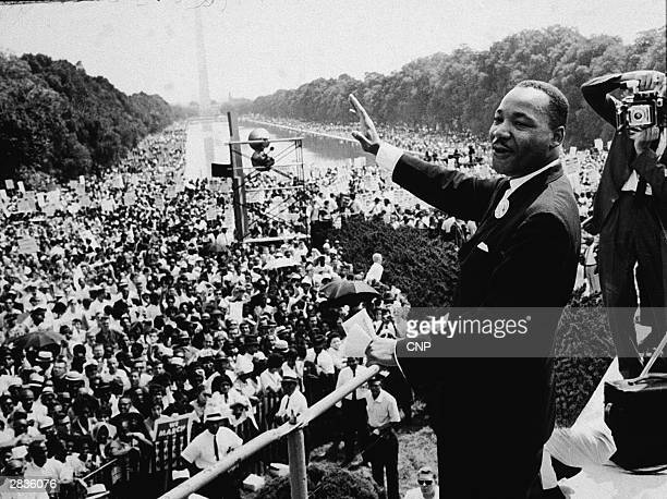 American Civil Rights leader Dr Martin Luther King Jr addresses a crowd at the March On Washington DC 28th August 1963