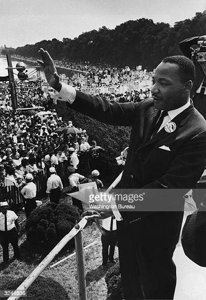 American civil rights leader Dr Martin Luther King Jr delivers his 'I have a dream' speech to participants in the March on Washington DC