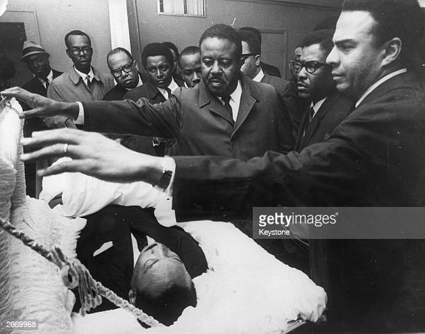 American civil rights leader Dr Martin Luther King Jr lying in state in Memphis Tennessee as his colleagues pay their respects to him Andrew Young...