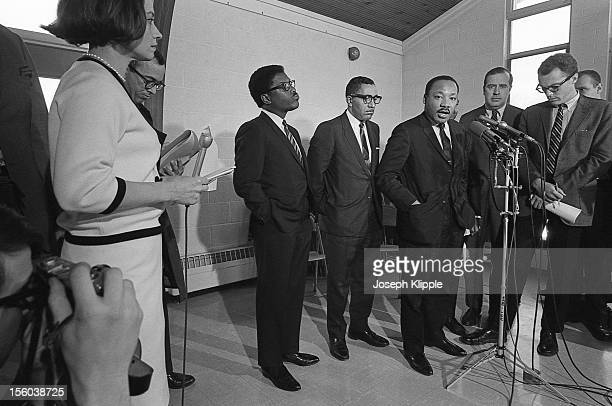 American Civil Rights leader Dr Martin Luther King Jr speaks to journalists at a press conference held at the New York Avenue Presbyterian Church...