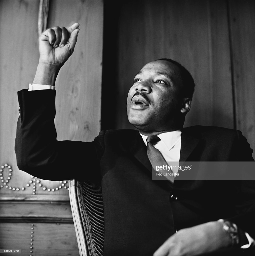 American civil rights leader Martin Luther King, Jr. (1929 - 1968) at a press conference in London, September 1964.