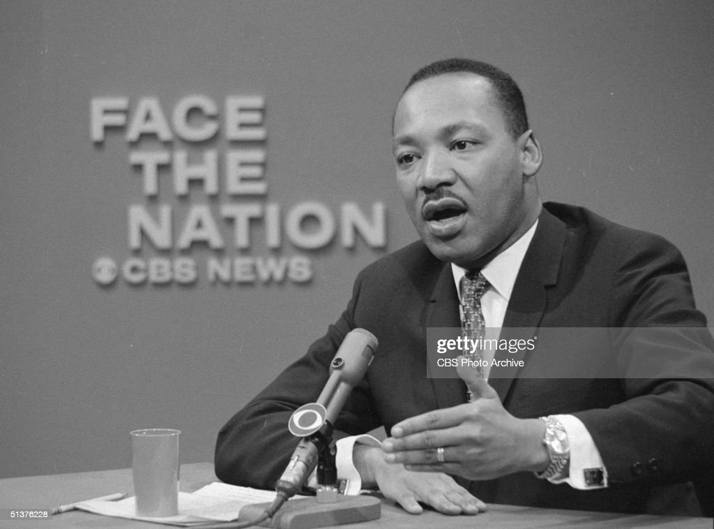American civil rights leader Reverend Dr. Martin Luther King Jr. (1929 - 1968) appears on the television news program 'Face The Nation,' April 16, 1967.
